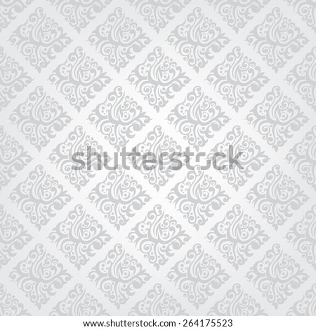 Vintage vector wallpaper seamless gray monochrome pattern, floral background - stock vector