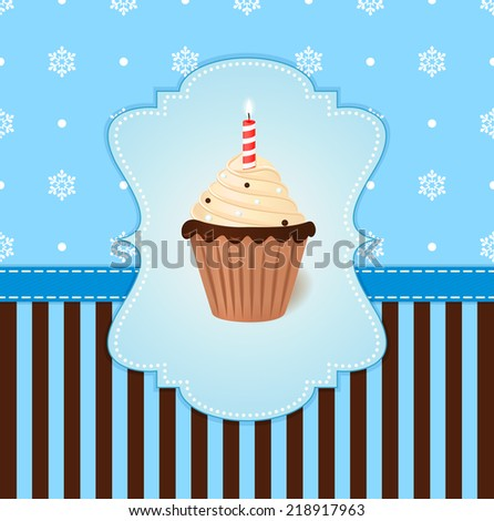Vintage vector winter card with cream cake and candle. Blue snowflake background. - stock vector