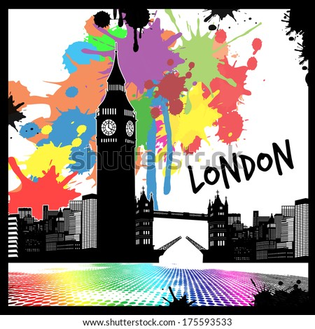 Vintage view of London on the grunge poster with colored splash, vector illustration - stock vector