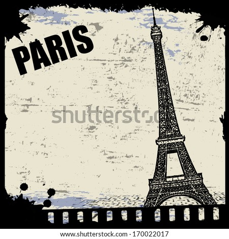 Vintage view of Paris on the grunge poster, vector illustration - stock vector