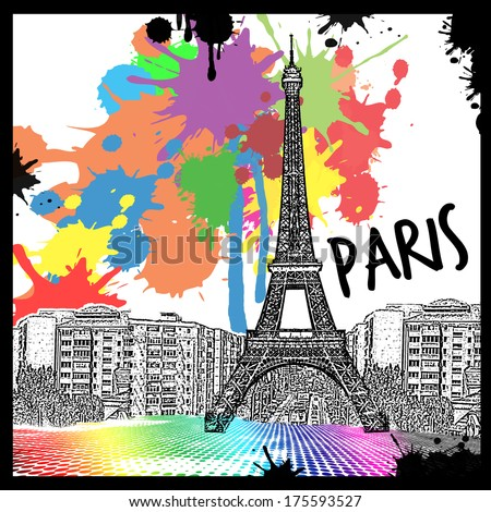 Vintage view of Paris on the grunge poster with colored splash, vector illustration - stock vector