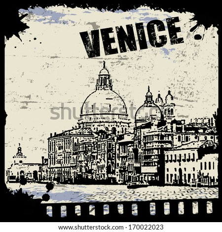Vintage view of Venice on the grunge poster, vector illustration - stock vector