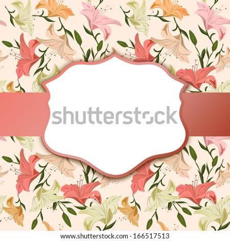 Vintage vignette on a floral background. vector illustration - stock vector