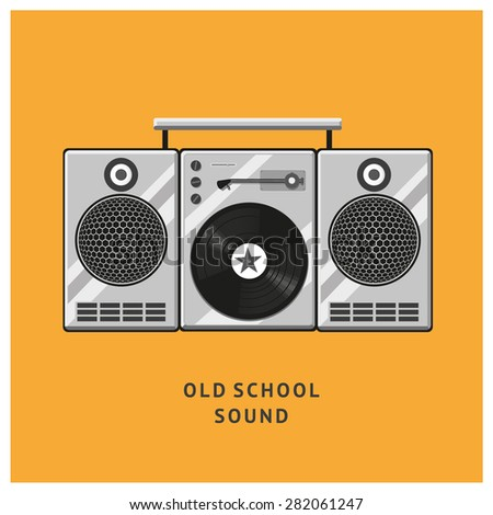 Vintage vinyl records player with dynamics. Old school style. Design template for posters and banners. - stock vector