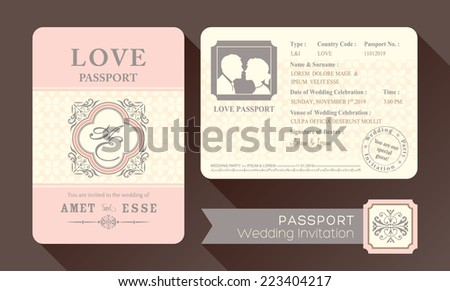 Vintage Visa Passport Wedding Invitation card design template - stock vector