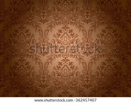 Vintage wallpaper pattern - stock vector