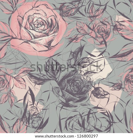 Vintage wallpaper with flowers / Vector illustration of wild roses - stock vector
