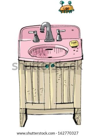 vintage wash basin - cartoon - stock vector