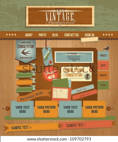 Vintage Web design elements 2 - stock vector