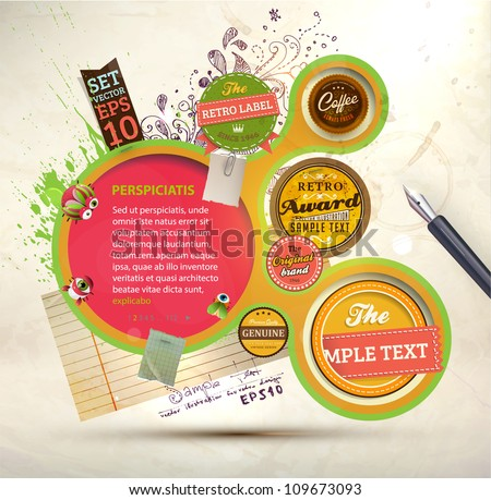 Vintage Web design template with labels, paper elements, stickers and paint drops. Eps 10 vector Illustration. Old paper texture, retro style. - stock vector