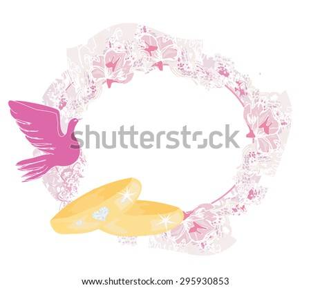 vintage wedding card with rings and pigeon - stock vector