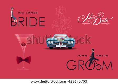 Vintage Wedding Design Elements Set. Bride and Groom, Martini Glass, Retro Car, Bow Tie, Save the date creative lettering - stock vector