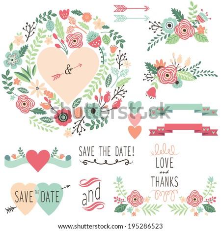 Vintage Wedding Flora design element- illustration - stock vector