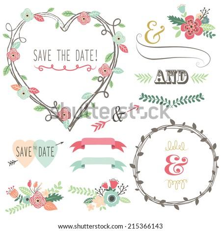 Vintage Wedding Flora Heart Shape- - stock vector