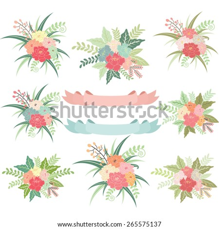 Vintage Wedding Flora with Banners - stock vector