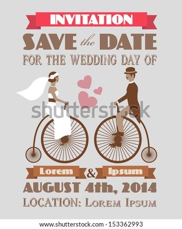 Vintage wedding invitation 2 - stock vector