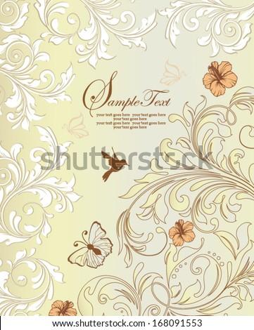 vintage wedding invitation card - stock vector
