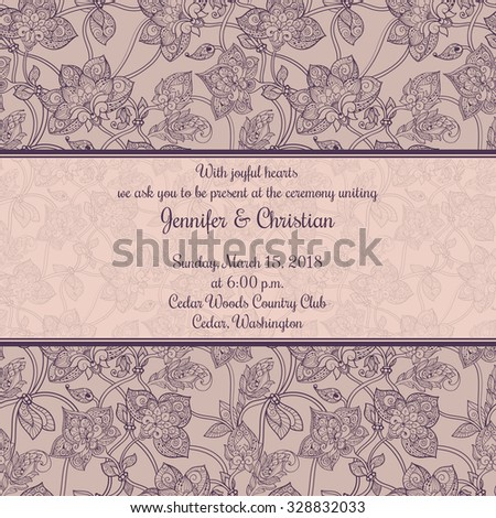 Vintage wedding invitation card template in romantic style - stock vector