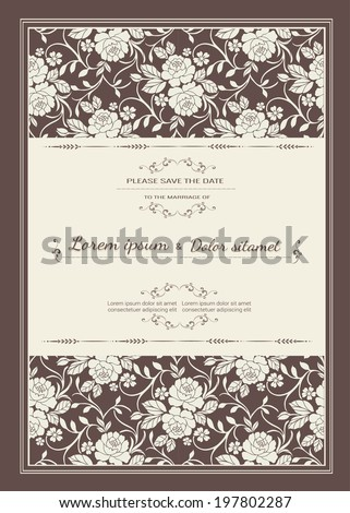 Vintage wedding invitation card template vector  - stock vector