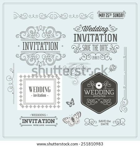 Vintage Wedding invitation design kit. Elements, ornaments, badges, Vector illustration. - stock vector