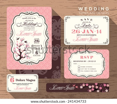 Vintage wedding invitation set design Template Vector place card response card save the date card - stock vector