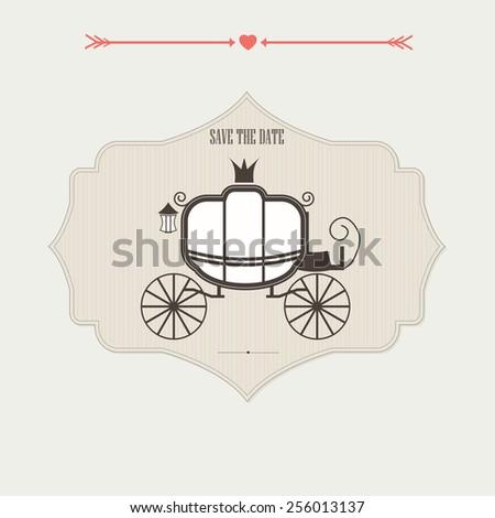 Vintage wedding invitation with coach. Set of vintage elements for wedding invitation vector - stock vector