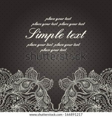 Vintage wedding invitation with lace paisley pattern and butterfly and place for your text. Vector blue background. - stock vector