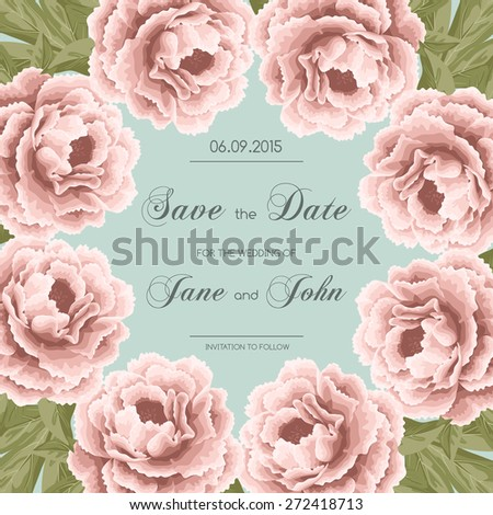 Vintage wedding invitation with peonies. Save the date design. Hand drawn vector illustration - stock vector
