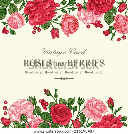 Vintage wedding invitation with pink and red roses on a light background. Vector illustration.  - stock vector