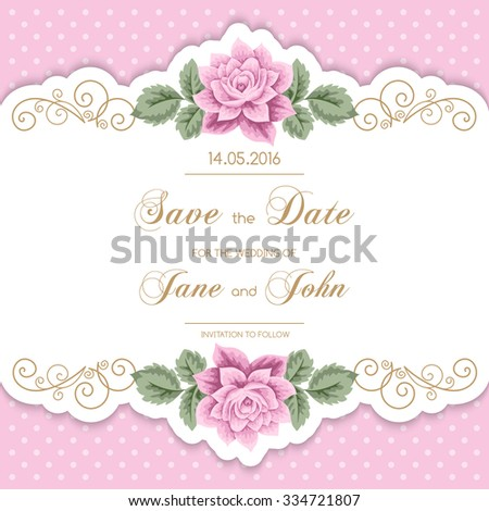 Vintage wedding invitation with roses and calligraphy frame on polka dot background. Save the date design. Vector illustration - stock vector