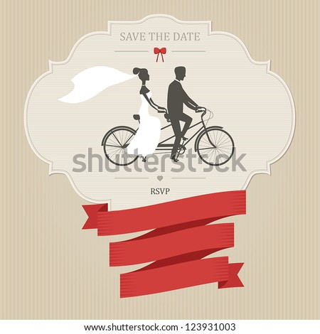 Vintage wedding invitation with tandem bicycle and place for text - stock vector