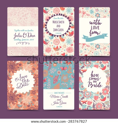 Vintage wedding romantic collection with 6 awesome cards made of hearts, flowers, wreaths and birds. Graphic set in retro style. Sweet save the date invitation cards in vector. - stock vector