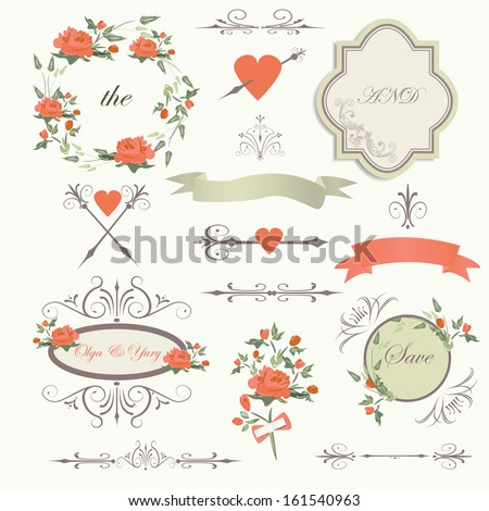 Vintage wedding set with romantic roses, flowers, frames, hearts, arrows, bows in retro style - stock vector