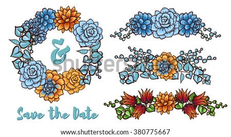 Vintage Wedding wreath of succulents for greeting cards, ornaments. Decorative floral element of succulents for invitations, covers, t-shirt - stock vector