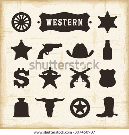 Vintage Western Icons Set. Editable EPS10 vector illustration with transparency. - stock vector