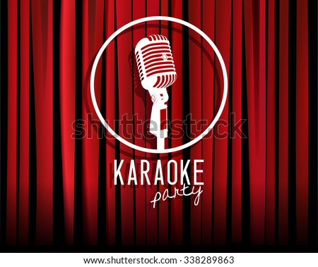 Vintage white silhouette microphone icon against red curtain backdrop. mic round sign on empty theatre stage, vector art image illustration. karaoke night show party background. retro style design - stock vector