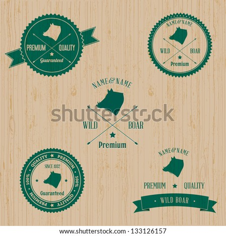 Vintage Wild Boar Badge set | Editable EPS vector illustration - stock vector