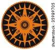 Vintage wind rose compass with fleur-de-lis - stock vector