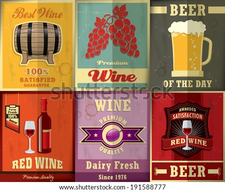 Vintage Wine & Beer poster design set - stock vector