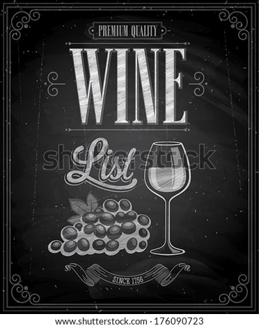 Vintage Wine List Poster  - Chalkboard. Vector illustration. - stock vector