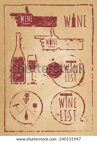 Vintage wine set kraft paper. Set of wine, wine list, wine red, wine white, wine glass, bottle of wine - stock vector