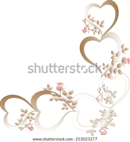 Vintage with beige hearts with red rose buds. EPS10 vector illustration. - stock vector