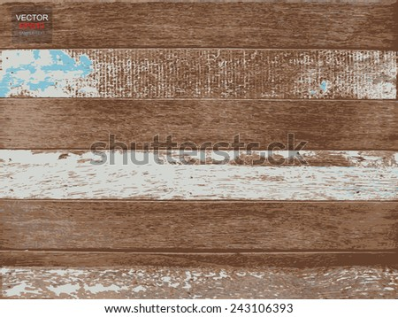 Vintage wood texture background and color stripe. Vector illustration. - stock vector