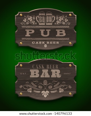 Vintage wooden signs for Pub and Bar - vector illustration - stock vector