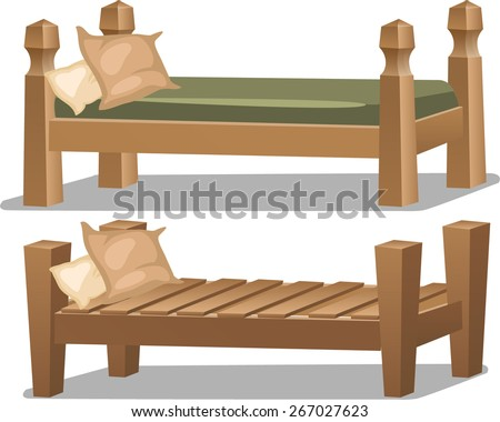 vintage wooden single bed - stock vector