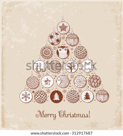 Vintage Xmas card with Christmas tree made of sketchy Christmas balls - stock vector