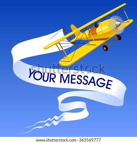 Vintage yellow airplane with blank banner in the blue sky. Vector illustration - stock vector