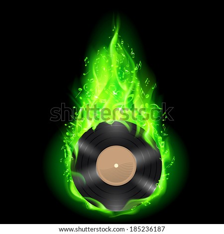 Vinyl disc burning in green fire with notes. Bright illustration on black background. - stock vector