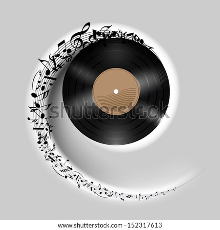 Vinyl disc with music notes flying out in white spiral. Effect of rolling record. Illustration on gray background. - stock vector