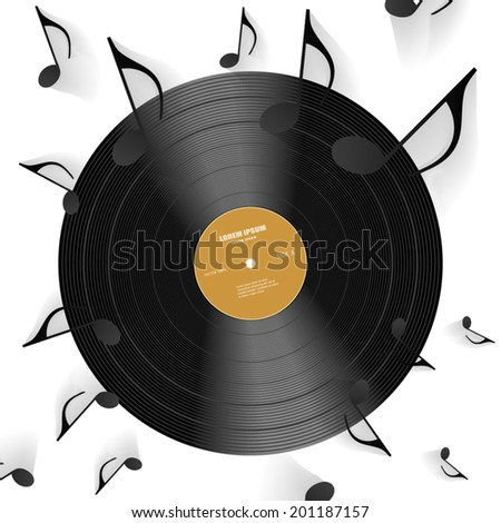 Vinyl disc with music notes. Vector Illustration. - stock vector